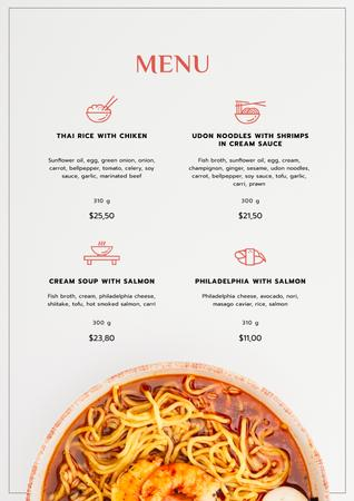 Asian Noodles with seafood Menu Design Template