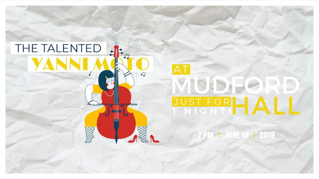 Concert Invitation Girl Playing Violoncello — ein Design erstellen