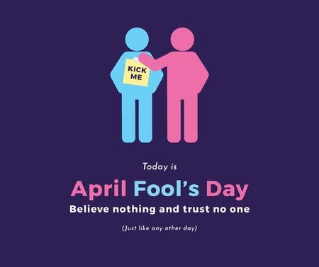 Designvorlage April Fools Day with people joking für Facebook