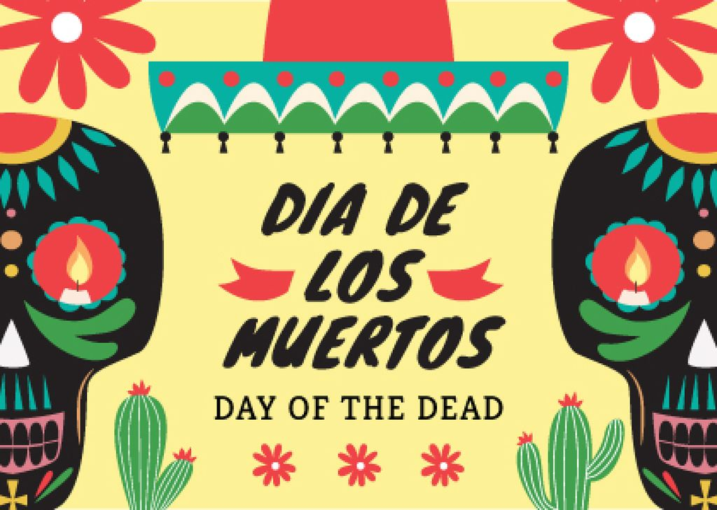 Day of the dead Announcement with Festive Skulls — Maak een ontwerp
