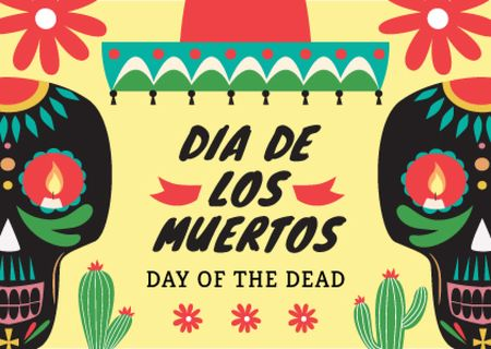 Day of the dead Announcement with Festive Skulls Postcard Modelo de Design
