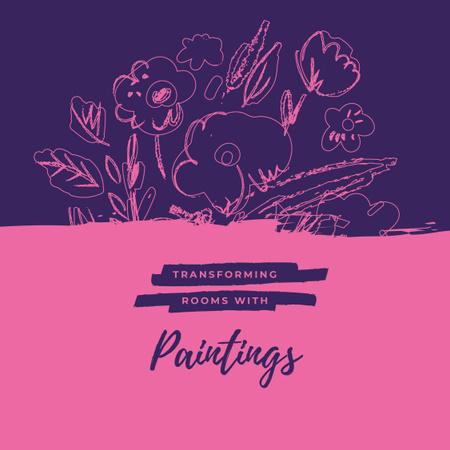 Pink blooming flowers Painting Instagram Design Template