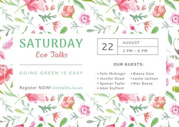 Eco Talks Announcement with Watercolor Flowers Pattern