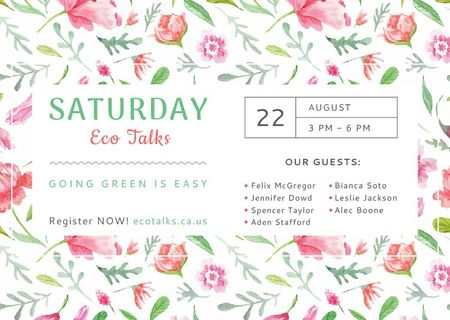 Ontwerpsjabloon van Card van Eco Talks Announcement with Watercolor Flowers Pattern