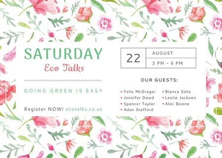 Eco Talks Announcement with Watercolor Flowers Pattern Card Modelo de Design