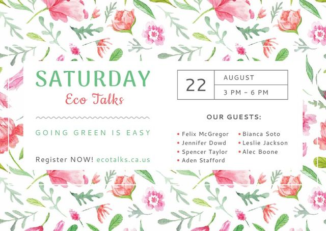 Template di design Eco Talks Announcement with Watercolor Flowers Pattern Card