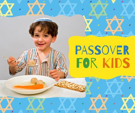 Boy having Passover dinner Facebook Modelo de Design