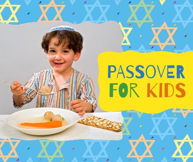 Ontwerpsjabloon van Facebook van Boy having Passover dinner