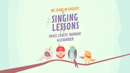 Vocal School Ad Birds Signing on Tree Branch Full HD video Modelo de Design