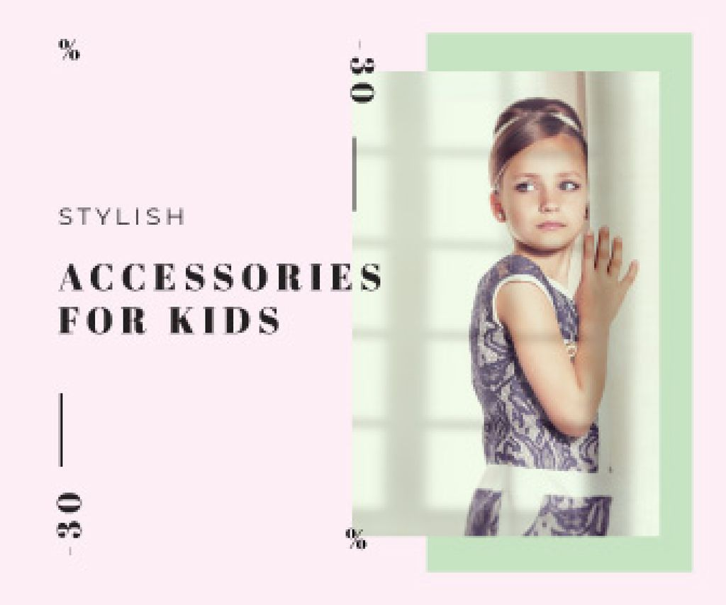 Kids' Accessories Sale Little Girl in Fancy Dress | Large Rectangle Template — Crear un diseño
