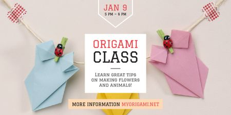 Origami Classes Invitation Paper Garland Image Modelo de Design