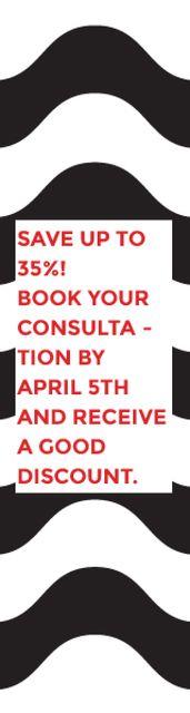 Plantilla de diseño de Business Consultations Discount Waves in Black and White Skyscraper