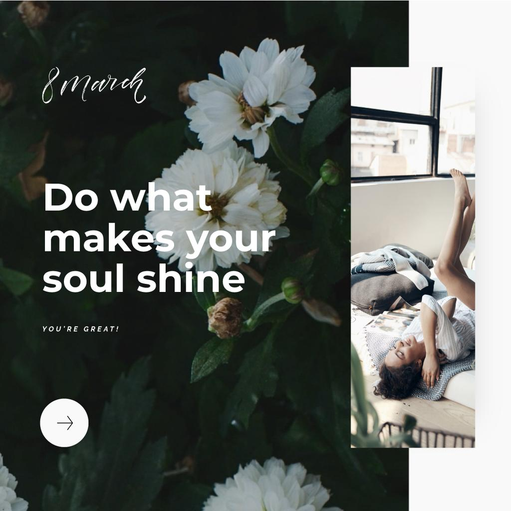 Happy woman lying in bed — Create a Design