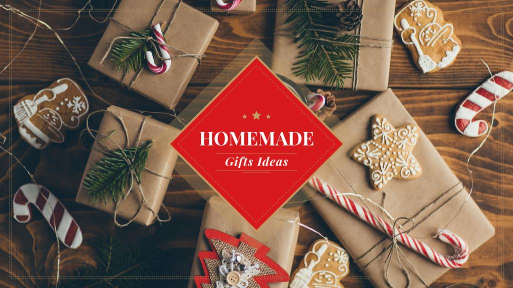 Handmade Christmas Gift Ides Wrapped Boxes | Youtube Channel Art — Créer un visuel