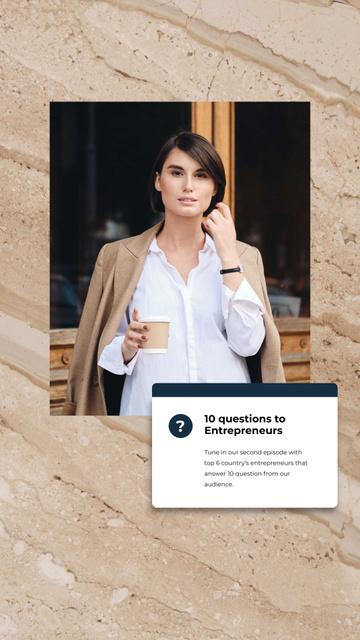Designvorlage Woman Entrepreneur with coffee für Instagram Story