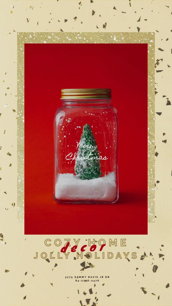 Christmas Greeting with Tree in Jar | Vertical Video Template — Créer un visuel