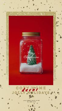 Christmas Greeting with Tree in Jar | Vertical Video Template