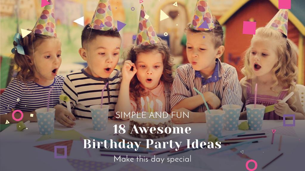 Birthday Party Organization Kids Blowing Cake Candles — Crear un diseño