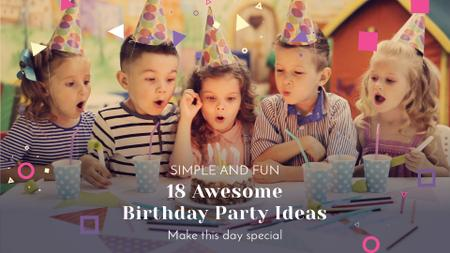 Ontwerpsjabloon van Full HD video van Birthday Party Organization Kids Blowing Cake Candles