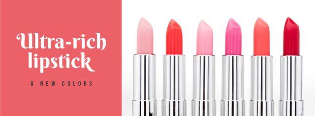 Plantilla de diseño de Beauty Store Lipsticks in Red Facebook cover