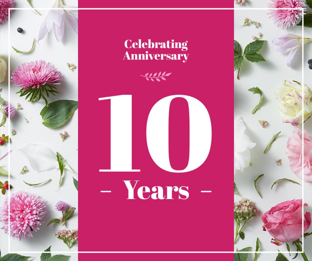 Anniversary celebration with flowers frame — Crear un diseño