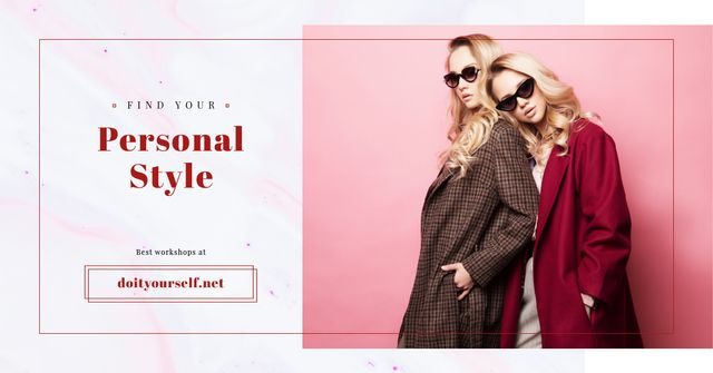 Beautiful Young Girls in Sunglasses Facebook AD Tasarım Şablonu