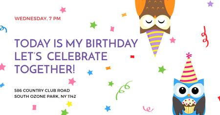 Birthday party Invitation with Cute Party Owls Facebook AD Modelo de Design