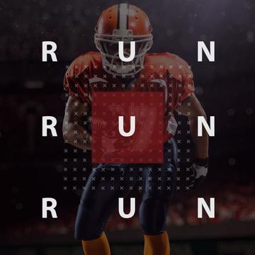 American football player with text run