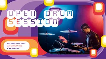 Concert Announcement Musician Playing Drums | Facebook Event Cover Template