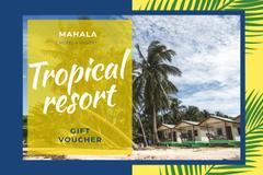 Tropical Resort with Huts and Palms