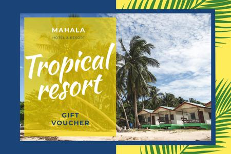 Designvorlage Tropical Resort with Huts and Palms für Gift Certificate
