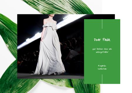 Young woman wearing white dress on catwalk Postcard – шаблон для дизайна