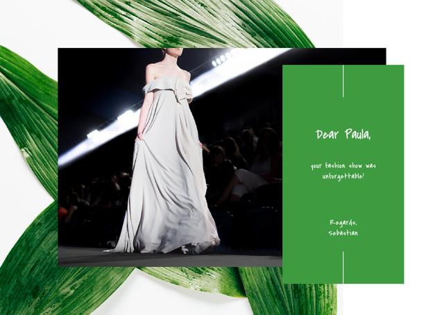 Ontwerpsjabloon van Postcard van Young woman wearing white dress on catwalk