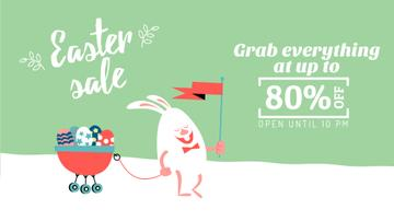 Easter Sale Bunny with Colored Eggs