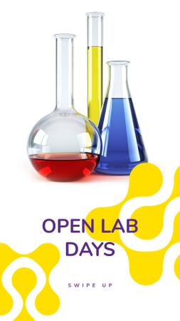 Designvorlage Laboratory Equipment Glass Flasks für Instagram Story