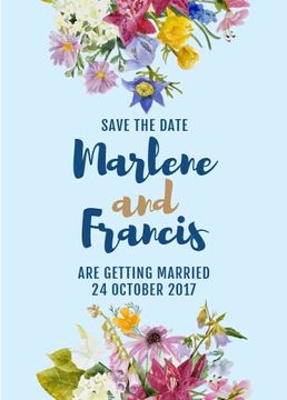 Save the Date Bright Flowers Frame in Blue