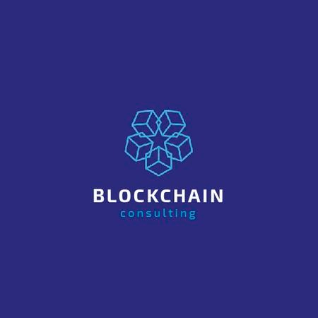 Ontwerpsjabloon van Animated Logo van Blockchain Consulting with Cubes Icon in Blue