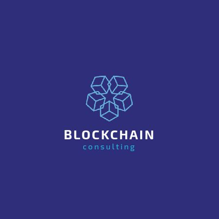 Blockchain Consulting with Cubes Icon in Blue Animated Logo Modelo de Design