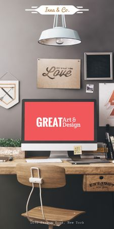 Design Agency Ad with Computer Screen on Working Table Graphic – шаблон для дизайну