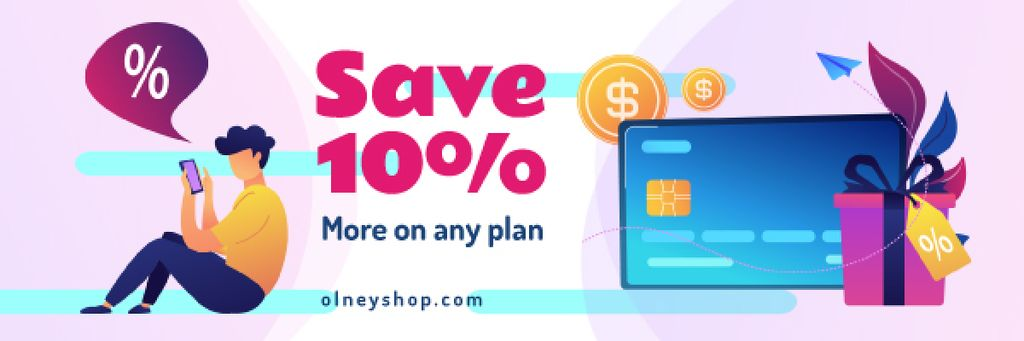 Sale Announcement Man Making Purchase Online | Email Header Template — Створити дизайн
