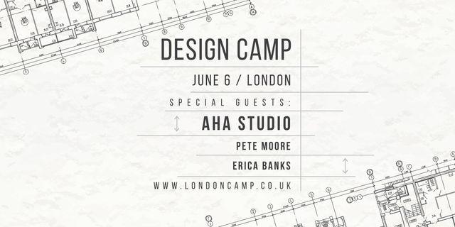 Design camp announcement on blueprint Image Design Template