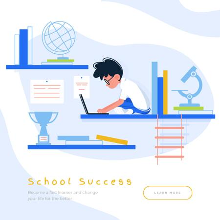 Plantilla de diseño de Boy studying with Laptop Animated Post