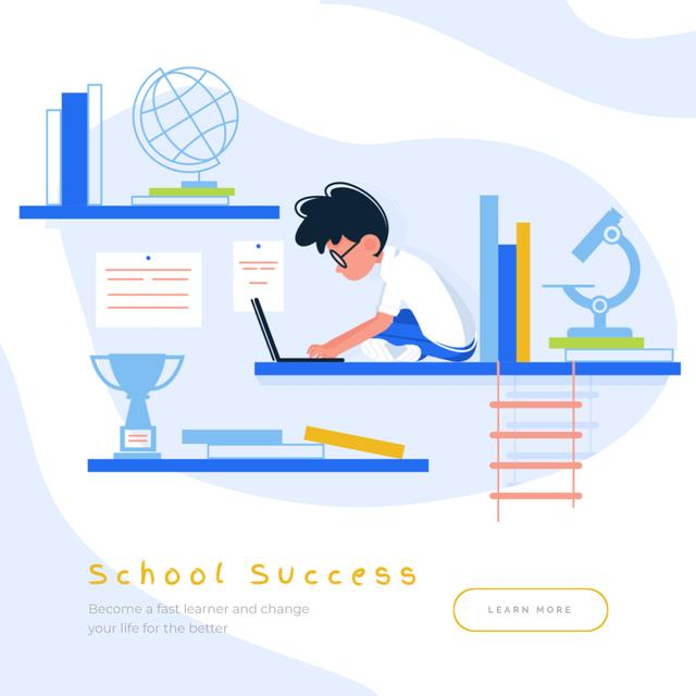 Boy studying with Laptop Animated Post – шаблон для дизайна