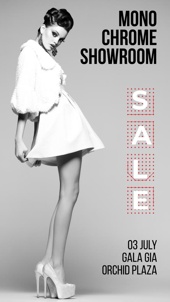 Fashion Sale Girl Wearing White Clothes — Maak een ontwerp