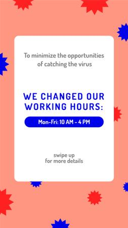 Plantilla de diseño de Working Hours Rescheduling during quarantine notice Instagram Story
