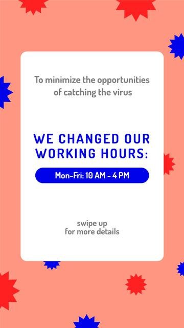 Working Hours Rescheduling during quarantine notice Instagram Storyデザインテンプレート