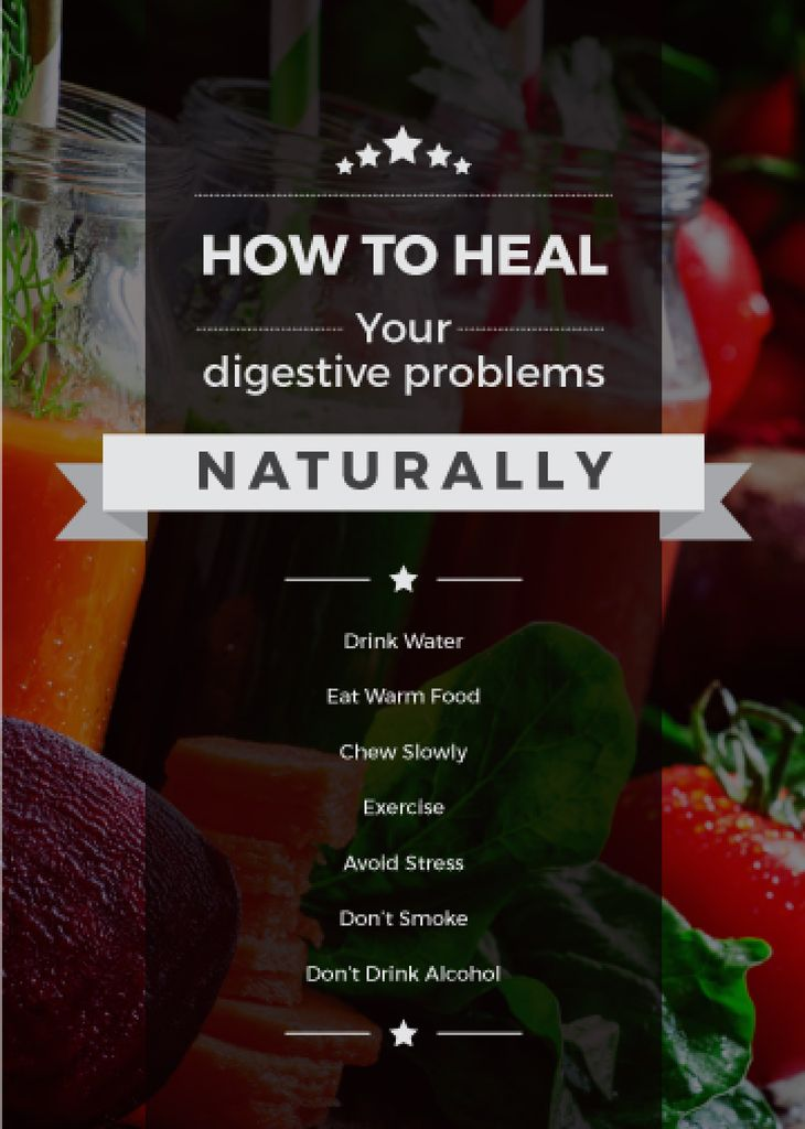 how to heal digestive problems naturally poster — Создать дизайн
