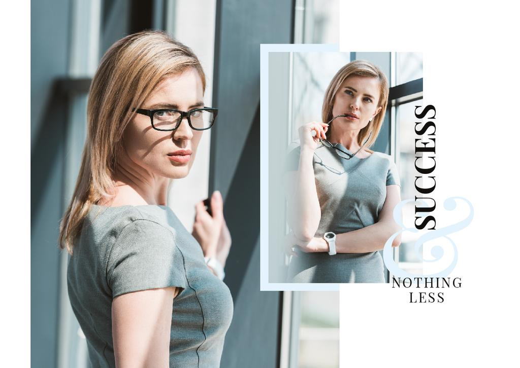 Business Success Concept Confident Young Woman | Postcard Template — Crea un design
