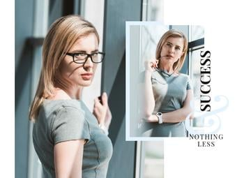 Business Success Concept Confident Young Woman | Postcard Template