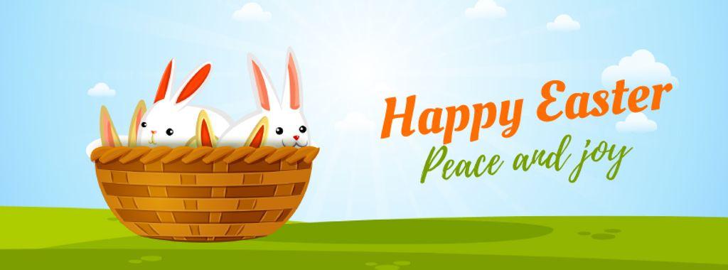 Cartoon Easter bunnies in basket — Modelo de projeto